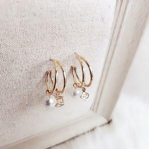 Crystal and Pearl Dangle Hoop Earrings